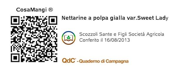 Etichetta QR Code Nettarine Sweet Lady - Scozzoli - Lotto 2013